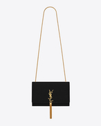 Classic Medium KATE MONOGRAM SAINT LAURENT Tassel Satchel in Black Velour