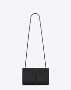Classic Medium KATE MONOGRAM SAINT LAURENT Satchel in Black Python Embossed Leather