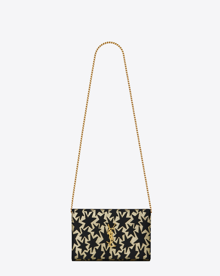 saint laurent monogram saint laurent chain wallet in gold and black star woven polyester and