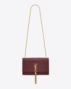 Classic Medium KATE MONOGRAM SAINT LAURENT Tassel Satchel magenta scuro in coccodrillo stampato