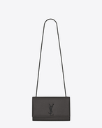 Classic Medium KATE MONOGRAM SAINT LAURENT Satchel in Dark Anthracite Grain de Poudre Textured Leather