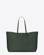 Large SHOPPING SAINT LAURENT Tote Bag in Dark Green Leather
