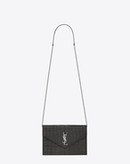 Portafogli MONOGRAM SAINT LAURENT Envelope con catena grigio antracite scuro in coccodrillo stampato