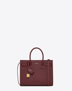 Classic Baby SAC DE JOUR Bag in Dark Magenta Crocodile Embossed Leather