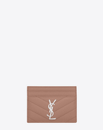 MONOGRAM SAINT LAURENT Credit Card Case in Light Dusty Rose Grain de Poudre Textured Matelassé Leather