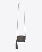monogram saint laurent blogger bag in grey leather