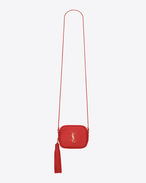 monogram saint laurent blogger bag in red leather