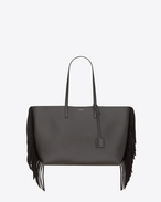 Large SHOPPING SAINT LAURENT Fringed Tote Bag in Dark Anthracite Leather