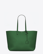 Large SHOPPING SAINT LAURENT Tote Bag verde trifoglio e nera in pelle