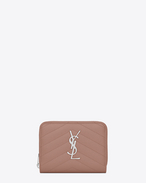 MONOGRAM SAINT LAURENT Compact Zip Around Wallet in Light Dusty Rose de Poudre Textured Matelassé Leather
