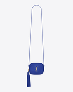 monogram saint laurent blogger bag in ultramarine leather