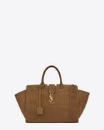small monogram saint laurent Downtown cabas bag in light ocher suede