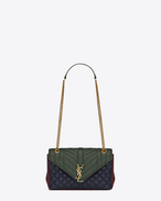 Classic Medium MONOGRAM SAINT LAURENT Satchel in Navy Blue, Dark Green and Bordeaux Leather