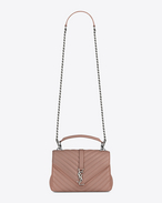 Classic Medium MONOGRAM SAINT LAURENT COLLÈGE Bag in Light Dusty Rose Matelassé Leather