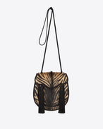 OPIUM 2 Tassel Bag in Natural and Black Zebra Printed Cowhide and Black Suede and viscose Cording