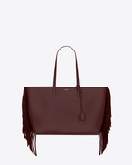 Large SHOPPING SAINT LAURENT Fringed Tote Bag in Bordeaux Leather