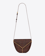 Y STUDS Satchel in Brown and Bordeaux Python Skin