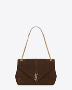 large monogram saint laurent envelop satchel in brown mixed matelassé suede