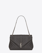 large monogram saint laurent envelop satchel in dark anthracite mixed matelassé leather