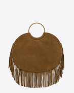 BRACELET Fringed Serpent Bag in Cognac Suede