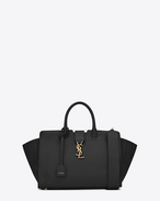 small monogram saint laurent Downtown cabas bag in black leather and suede