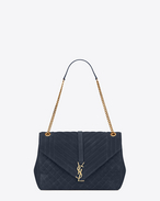 large monogram saint laurent envelop satchel in navy blue mixed matelassé suede