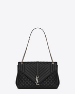 large monogram saint laurent envelope satchel in black mixed matelassé leather