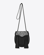 OPIUM 2 Studded Tassel Bag in Black Leather and viscose Cording