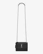 サンセット モノグラム・サンローラン バッグ(スモール/ブラック/グレインレザー)
