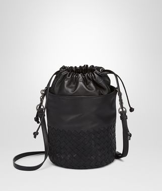 BUCKET BAG IN NERO INTRECCIATO CALF AND NAPPA