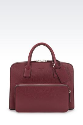 Armani Briefcases Men briefcase in tumbled calfskin