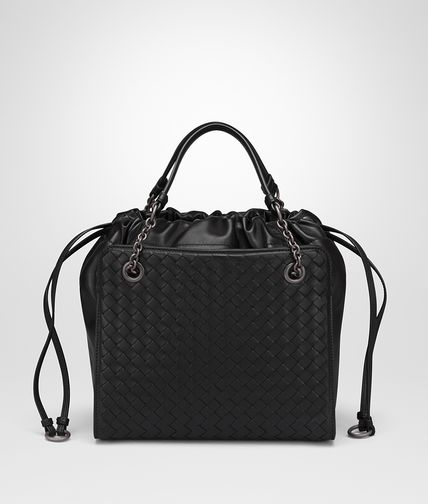 SMALL TOTE BAG IN NERO NAPPA WITH INTRECCIATO DETAILS