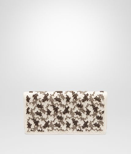 CLUTCH BAG IN MIST EMBROIDERED INTRECCIATO NAPPA