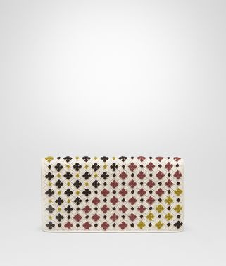 CLUTCH BAG IN MIST MULTICOLOR EMBROIDERED INTRECCIATO NAPPA