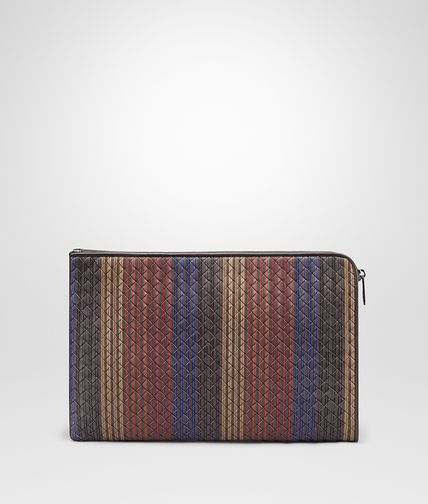 DOCUMENT CASE IN NEW LIGHT GREY NERO PACIFIC BAROLO BRICK CAMEL INTRECCIATO NAPPA WITH STRIPES MOTIF