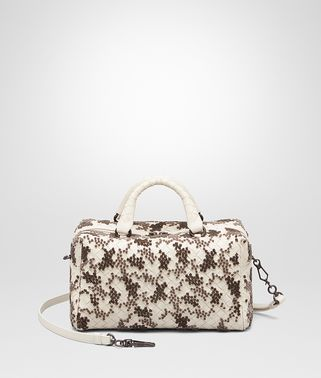TOP HANDLE BAG IN MIST EMBROIDERED INTRECCIATO NAPPA