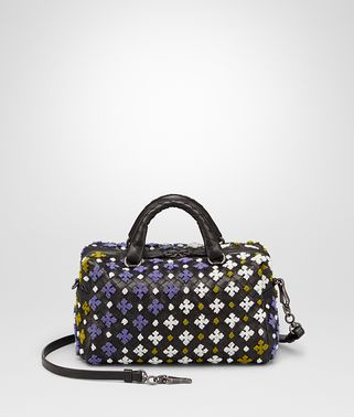 TOP HANDLE BAG IN NERO MULTICOLOR EMBROIDERED INTRECCIATO NAPPA