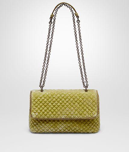 旧金色天鹅绒刺绣小号OLIMPIA手袋,淡水蛇皮镶边