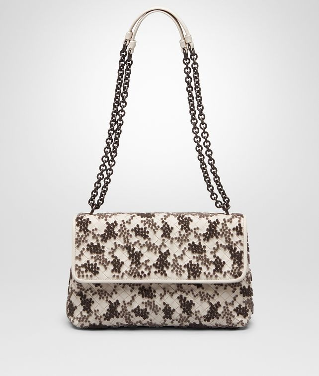 SMALL OLIMPIA BAG IN MIST EMBROIDERED INTRECCIATO NAPPA