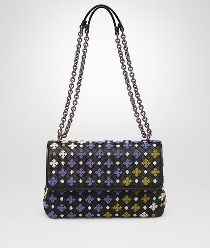 SMALL OLIMPIA BAG IN NERO MULTICOLOR EMBROIDERED INTRECCIATO NAPPA