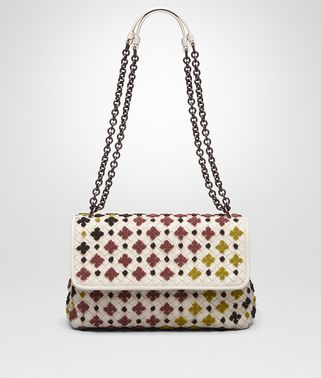 SMALL OLIMPIA BAG IN MIST MULTICOLOR EMBROIDERED INTRECCIATO NAPPA