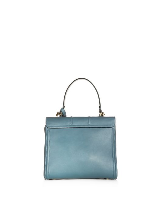 lanvin small mid-blue top handle bag by lanvin  women