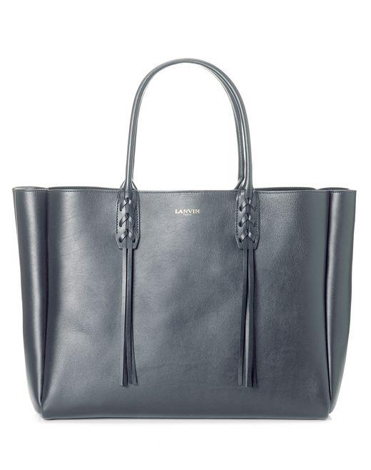 lanvin small charcoal shopper bag  women