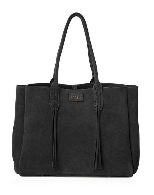 lanvin small shopper bag in black suede women