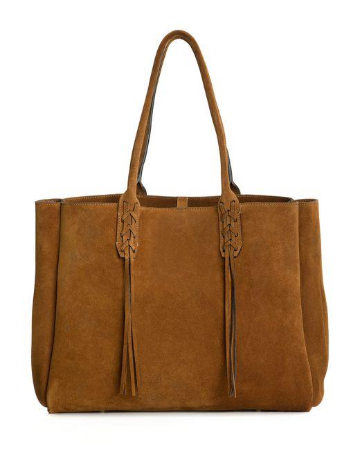 lanvin small shopper bag in havana suede women