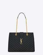 classic monogram saint laurent shopping bag in black grain de poudre textured matelassé leather