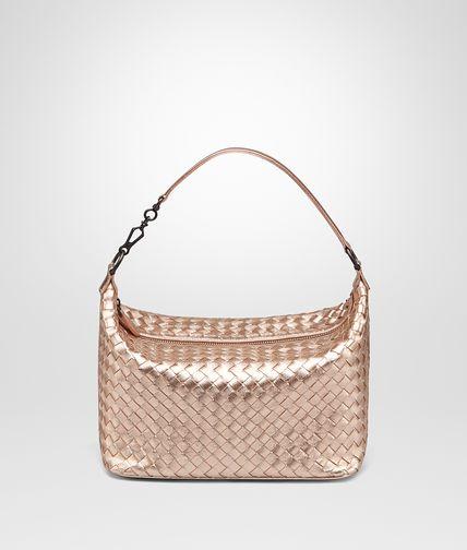 SMALL SHOULDER BAG IN ROSE GOLD INTRECCIATO GROS GRAIN