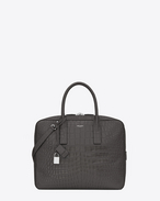 Classic Small MUSEUM Briefcase in Dark Anthracite Crocodile Embossed Leather