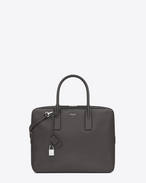 CLASSIC Small MUSEUM Flat BRIEFCASE IN dark anthracite GRAIN DE POUDRE TEXTURED LEATHER
