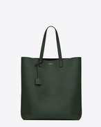 SHOPPING SAINT LAURENT Tote Bag verde scuro e nera in pelle